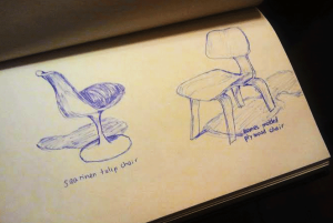 My sketches of a Saarinen Tulip Chair and Eames Molded Plywood Chair